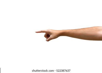 Woman hand pointing something action, isolated on white background, with clipping path.