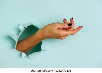 Woman hand popping out of hole blue paper background. Gesture concept.