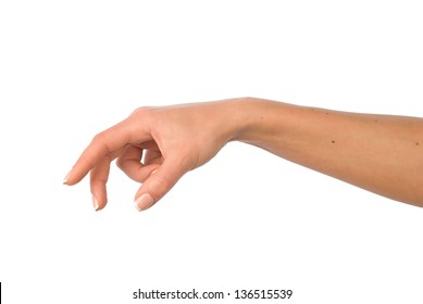 Woman hand reaching for something.