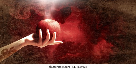 Woman hand with red apple isolated on red sky background, Christianity sin.