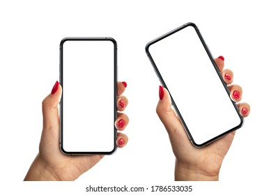 Woman hand with red nails holding the black smartphone with blank screen and modern frameless design two positions angled and vertical - isolated on white background - Shutterstock ID 1786533035