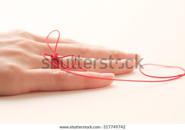Woman, hand, red thread