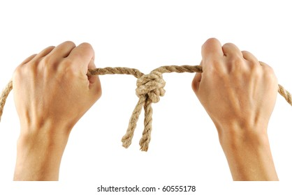 woman hand rope isolated on white background
