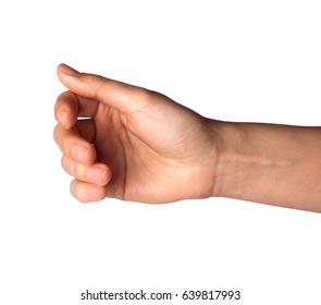 woman hand show holding something isolated on white background