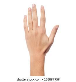 Frauenhand mit fünf Zählern