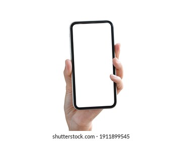 Woman hand showing mobile smartphone with blank white full screen isolated on white background. Female hands with phone, space for text