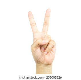 Woman hand showing two count on white background