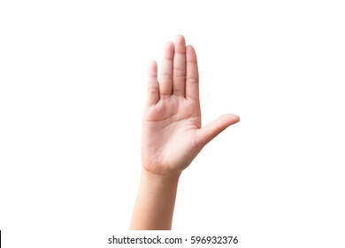 Woman hand showing  - white background.