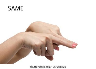 Woman hand sig SAME ASL American sign language