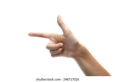 woman hand sign gun on white background