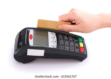 A woman hand swiping a credit card into device