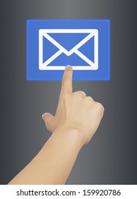 woman hand touching mail button, on gray background.
