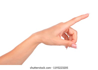 Woman hand touching virtual screen isolated on white background.
