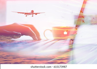 woman hand using keyboard laptop and coffee double exposure sunset beach bird fly palm leaf and airplane. technology business working and summer vacation travel concept. vintage tone color style