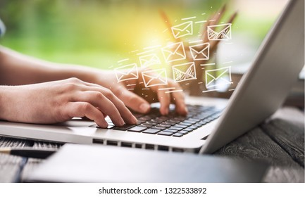 Woman hand using Laptop with email