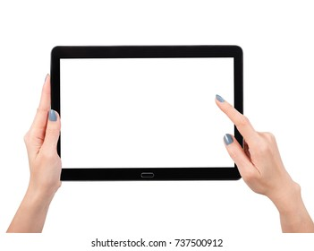 Woman hand using mock up digital tablet isolated clipping patch