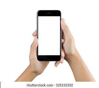 Woman hand using smart phone isolated on white background.  white screen.