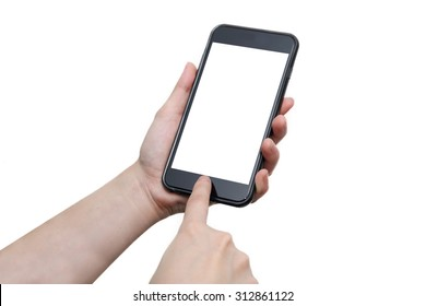 woman hand using the smartphone with blank screen