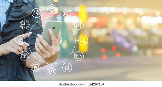 Woman hand using smartphone and icon web, Connect to the Internet with smartphone.