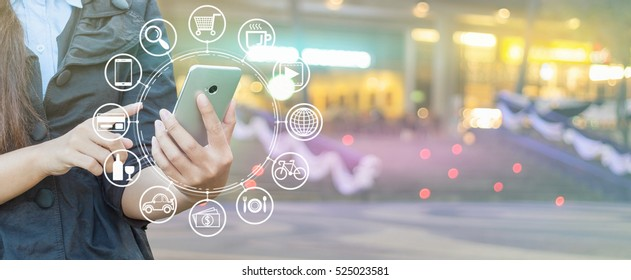 Woman hand using smartphone and icon web, Shopping via smartphone.