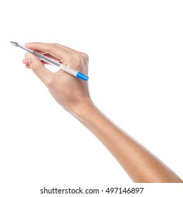 Woman hand writing with a pen, isolated white background.
