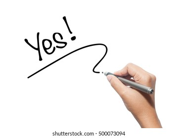 Woman hand writing Yes isolated on background.