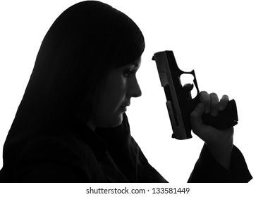 woman with handgun / handgun