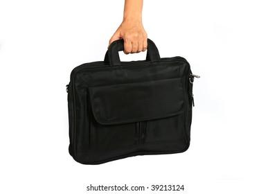 Woman handing a black laptop bag