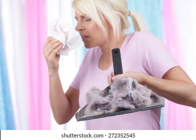 Woman with handkerchief and house dust allergy