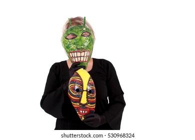 Woman with handmade mask from a paper on a white background