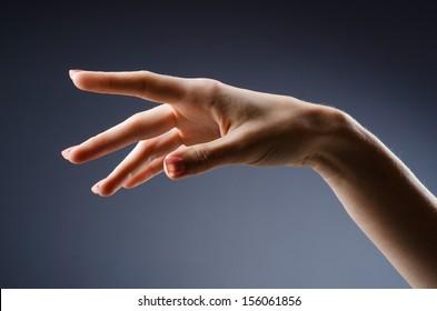 Woman hands against gradient background