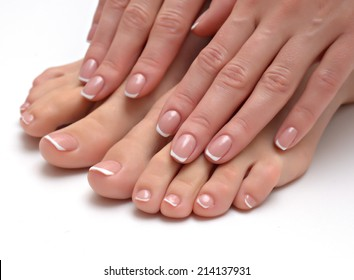 Woman hands with beautiful french manicure