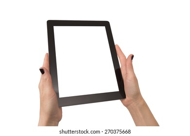 woman hands with black nails hold and use abstract black touch pad with white blank screen. It is a studio shot isolated over white.