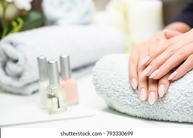 Woman hands care. Hands and spa relaxing. Beauty woman nails.