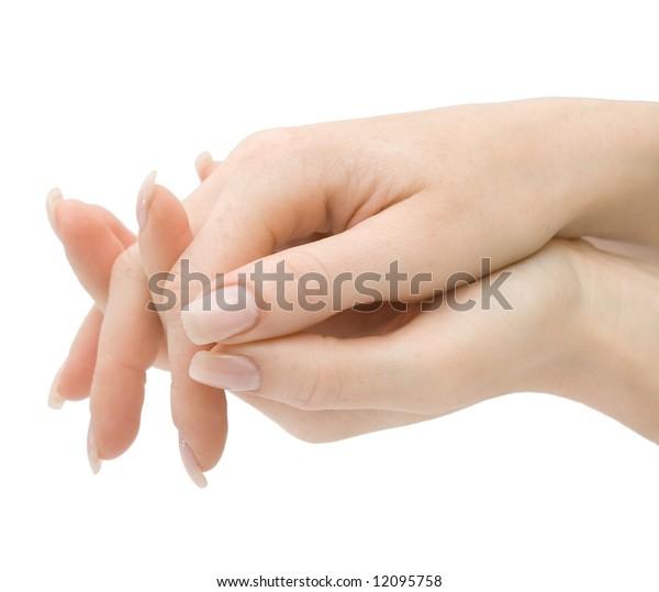 Woman hands with crossed fingers, isolated on white background, with clipping path