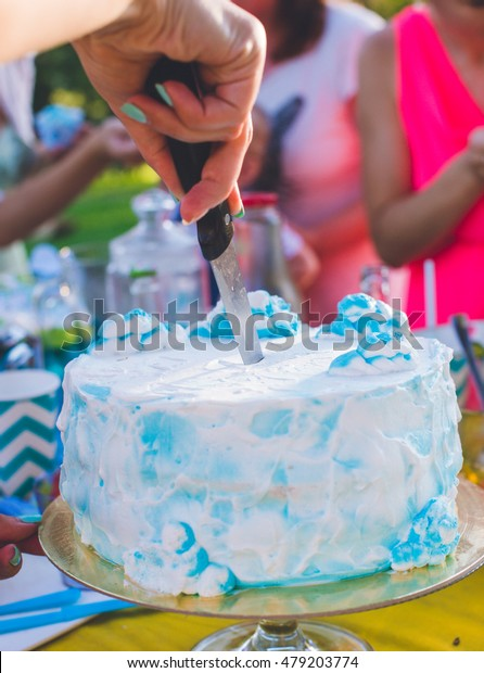 Fantastic Woman Hands Cutting Knife Peace Birthday Stock Photo Edit Now Personalised Birthday Cards Cominlily Jamesorg