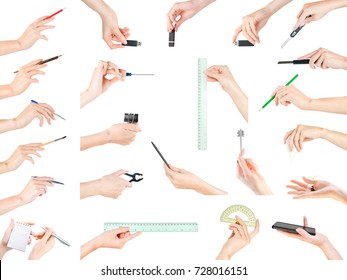 Woman hands with different small items large set. Office, stationery, writing and education theme. Isolated on white, clipping path included