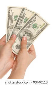 Woman hands with dollars isolated on white background
