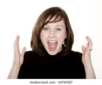 Woman with hands up in frustration