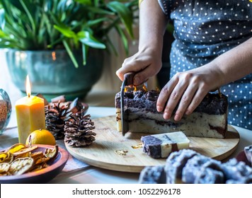 Woman Hands With Handmade soap. Spa Aroma Salon. Natural Cosmetic