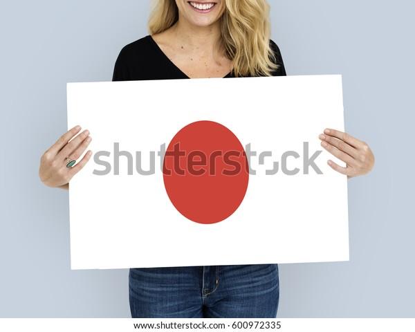 Woman Hands Hold Japan Japanese Flag Patriotism