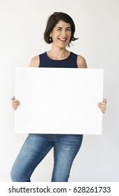 Woman Hands Hold Show Blank Paper Board