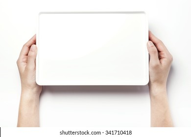 A woman hands hold a white empty(vacant, hollow) plastic box(container, tidy) and top view isolated white at the studio.