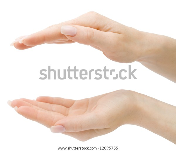 Woman hands holding anything from top and bottom, isolated on white background, with clipping path
