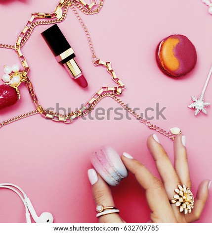 woman hands holding macaroons girl stuff stock photo edit now