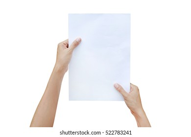 Woman hands holding sheet of paper isolated on white background.