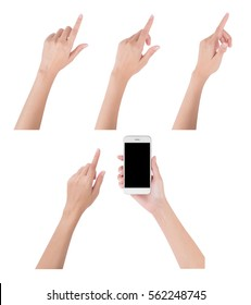 Woman hands holding smart phone with blank screen display and collection of different index finger touching or pointing to something, digital and communication concept, Isolated on white background.
