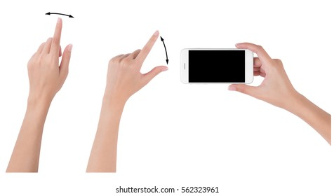 Woman hands holding smart phone with blank screen display, Collection of index finger and pinch fingers for touch or zoom, digital and communication concept, Isolated on white background
