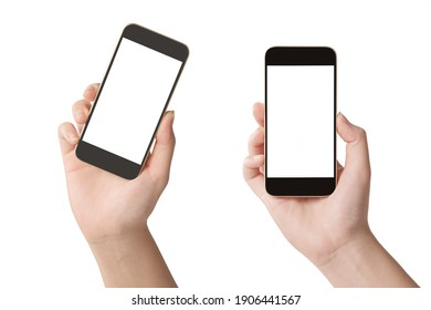 Woman hands holding smartphone with blank screen isolated on white background.