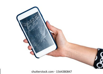Woman hands holding smartphone with cracked screen isolated on white